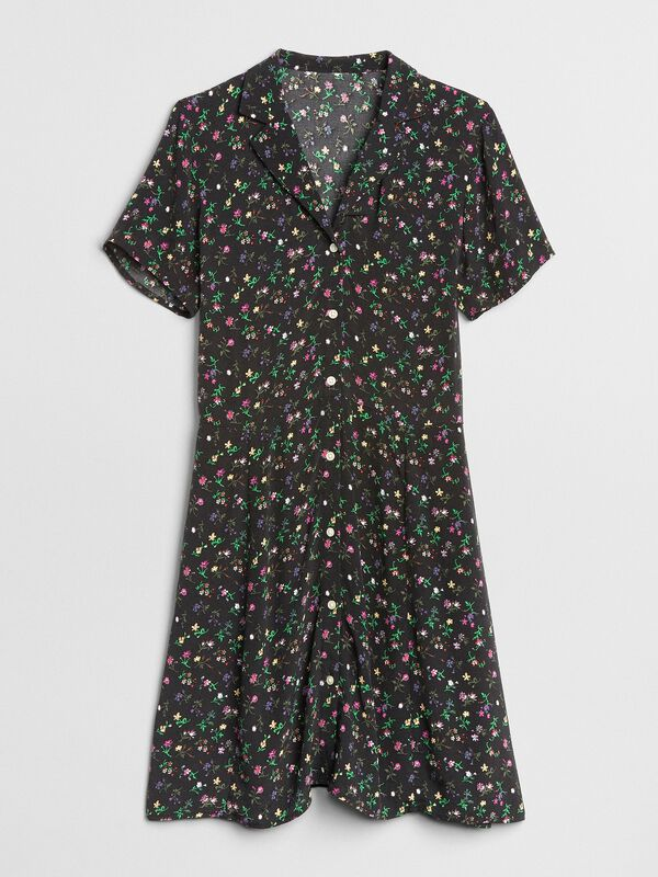 Gap - Fit and Flare Button-Front Floral Print Dress - 5