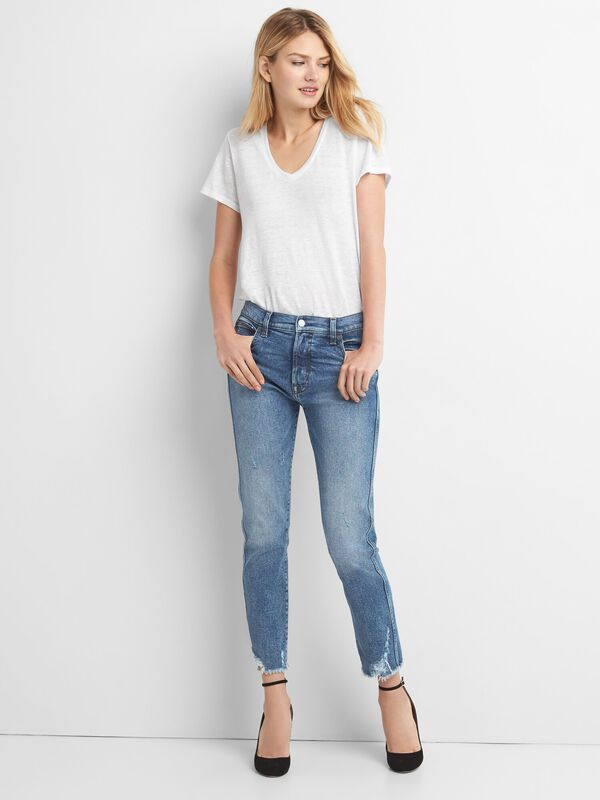 Gap - High Rise Slim Straight Jeans with Distressed Detail - 3