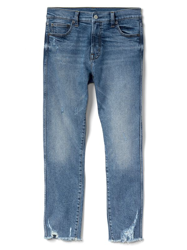 Gap - High Rise Slim Straight Jeans with Distressed Detail - 5