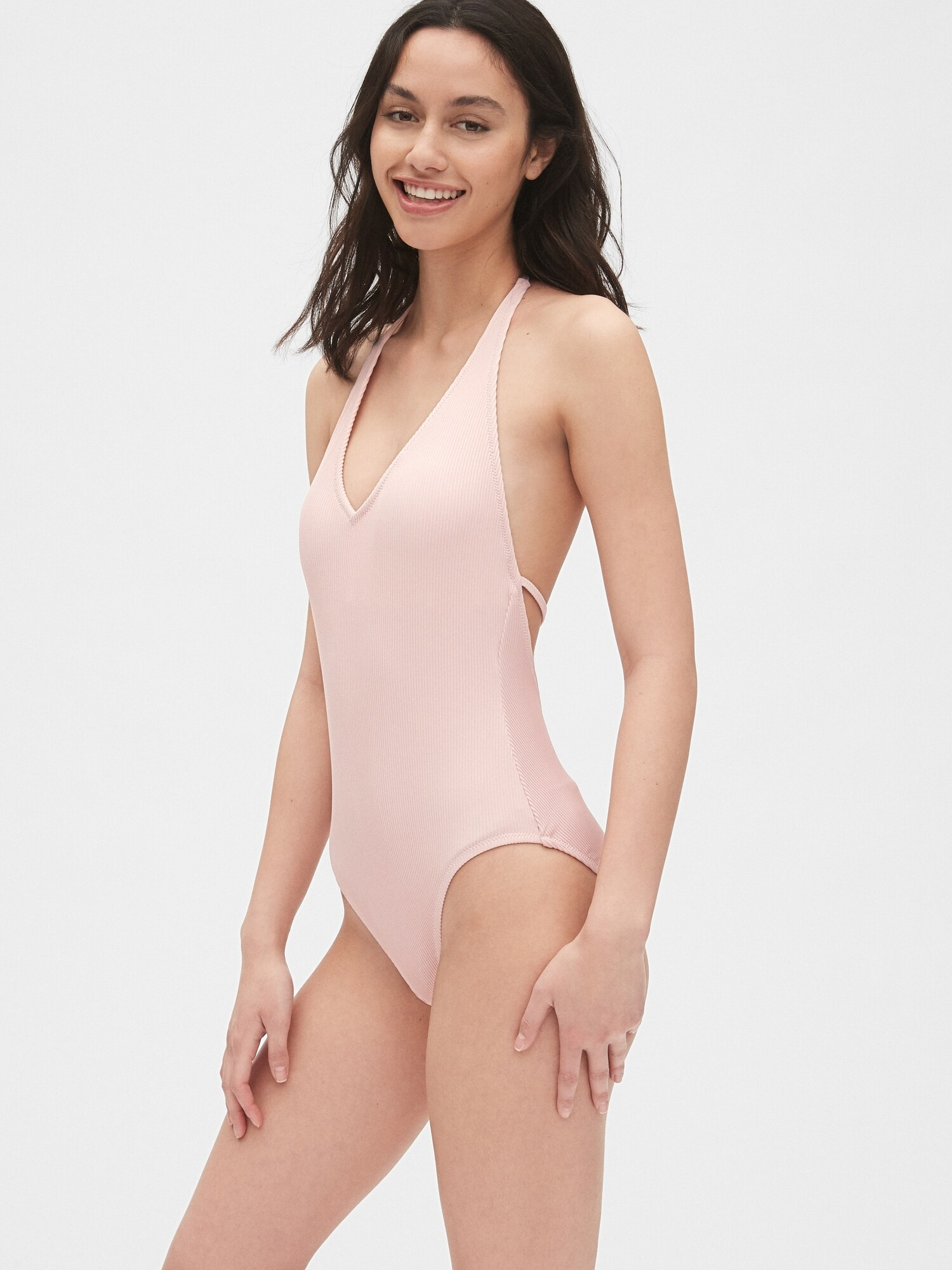 Ribbed Halter One-Piece Suit