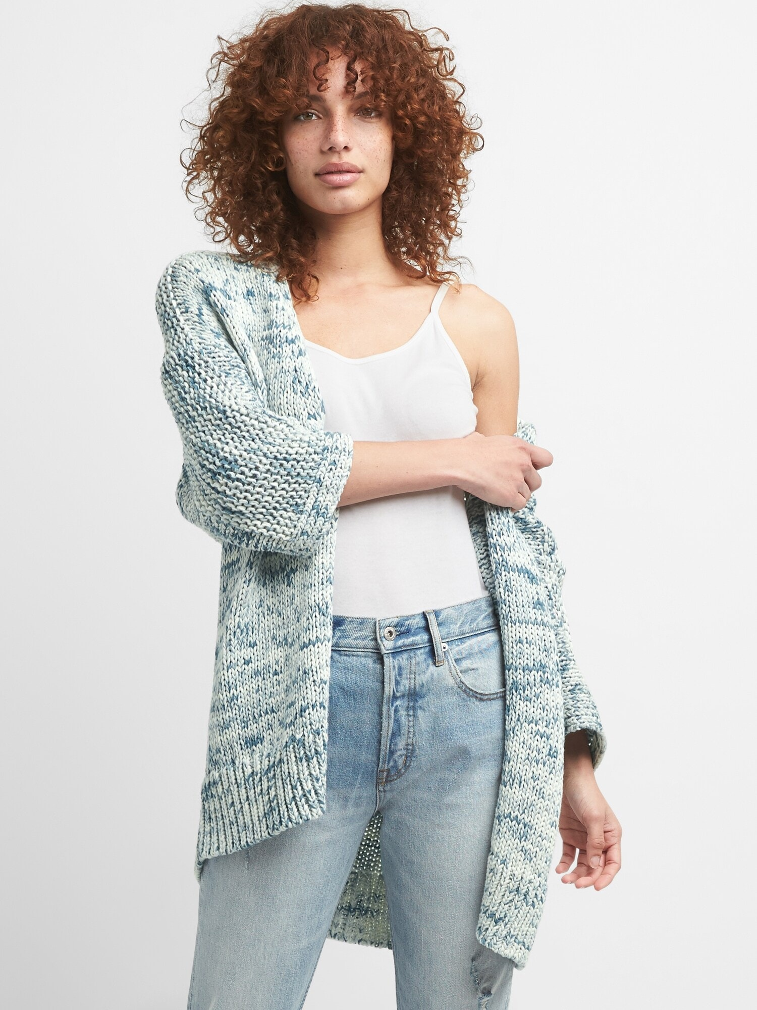 Three Quarter Sleeve Open Front Cardigan Sweater