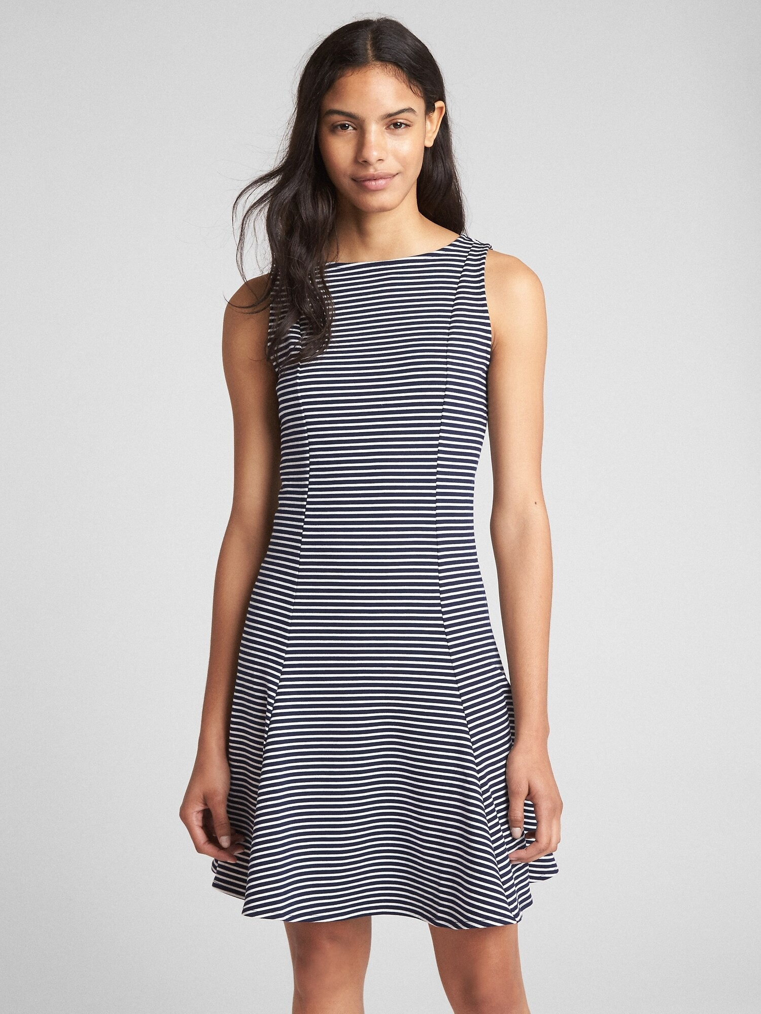 Sleeveless Fluted Dress in Ponte