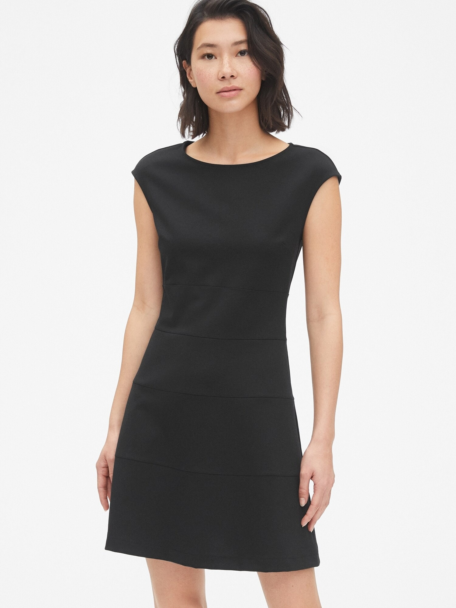 Cap Sleeve Fit and Flare Dress in Ponte