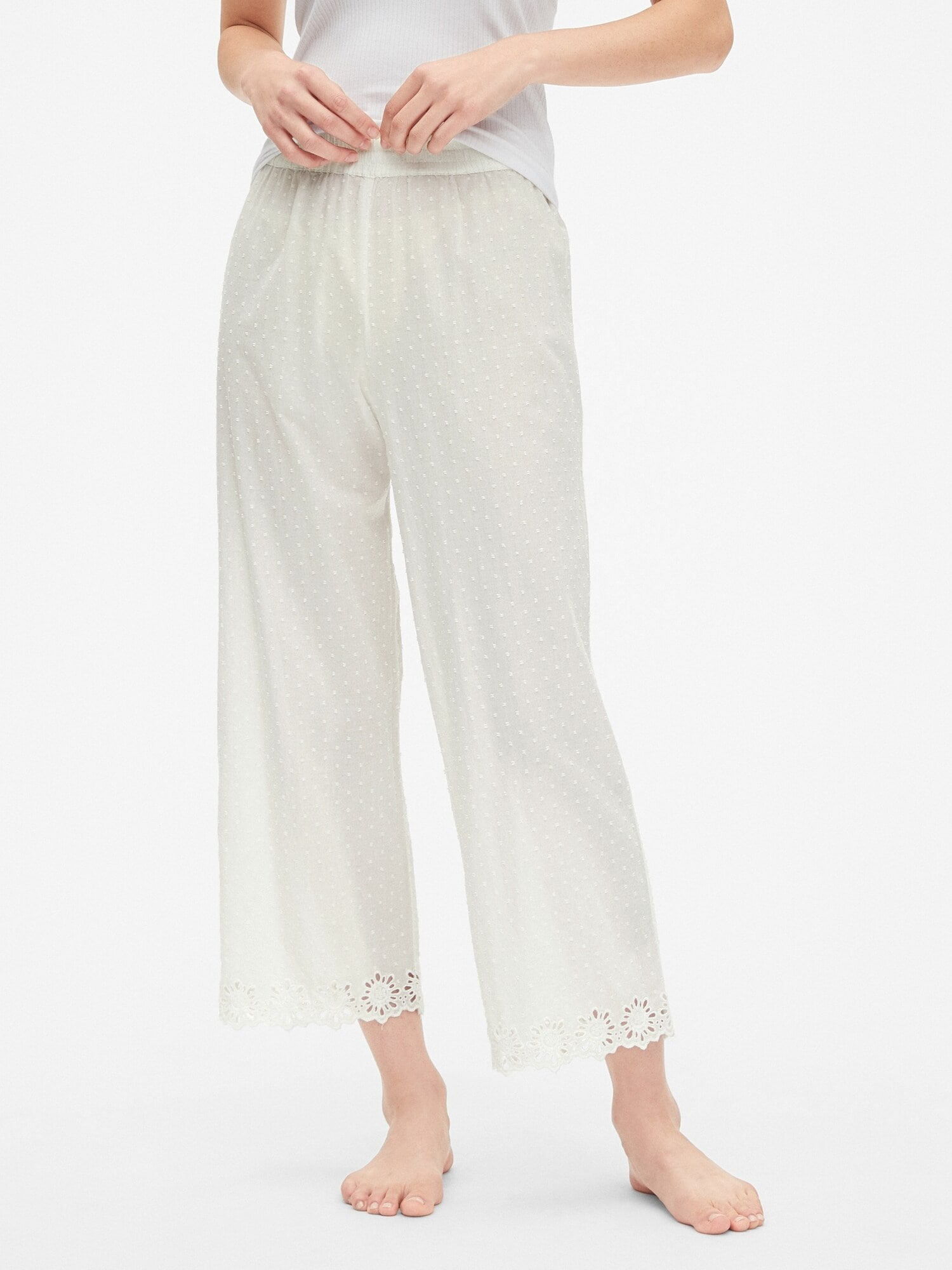 Dreamwell Embroidered Pants in Swiss Dot